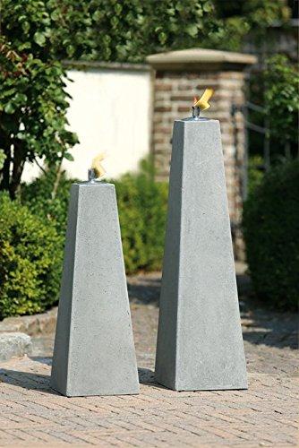 Gilde Handwerk Pyramide Öllampe Creastone Lampe Feuersäule Öl-Lampe Deko Objekt Feuer Garten Gartendekoration Fackel betonfarben Zement Fieberglas Sand wetterfest frostfest 52058