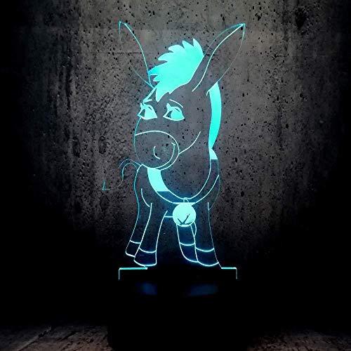 3D Illusion Nachtlicht / 7 wechselnde Farben/Tischlampe/Schild/Tauchen/Esel Kinderzimmer/Kindergarten Yoga-Butterblume-Butterblume