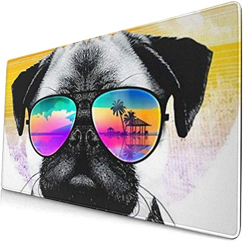 Fondos De Pantalla De Pugs Personalized Mouse Pad with Edge Stitching Extra Long Mouse Pad (29.5x15.8In), Office Home Game Extended Pad Keyboard Pad Waterproof Non-Slip Base