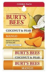 Burts Bees 100% Natural Moisturizing Lip Balm, Coconut & Pear and Mango, 2 Tubes in Blister Box