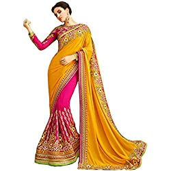 I-Brand Yellow Color Georgette & Banglori silk Fabric Embroidery Work Saree ( New Arrival Latest Best Choice and Design Beautiful Sarees and Salwar suits and Dress Material Collection For Women and Girl Party wear Festival wear Special Function Events Wear In Low Price With Todays Special Offer with Fancy Pattern Designer Blouse and Bollywood Collection 2017 Good Looking Clothes )