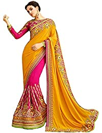 Magneitta Women's Georgette Saree With Blouse Piece (22094_Yellow & Pink)