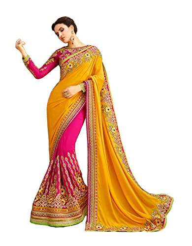 Bollywood Craze Yellow Color Georgette & Banglori silk Fabric Embroidery Work Saree...