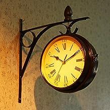 Reloj de pared retra creativa Europea en tiempo moda jardín pared reloj pared doble cara reloj reloj adornamiento del hogar