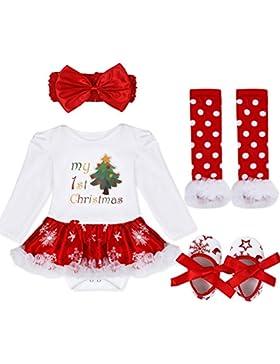 YiZYiF 2tlg. / 4tlg. Baby Mädchen Kleid Weihnachten Bekleidung Set Strampler Tütü Bodys + Kopfband 0-18 Monate