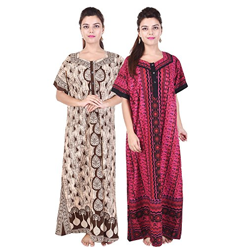Multi Color Long cotton Nighty (Pack of 2) Combo Womens Printed Nighty Nightwear Cotton Maxi Dress Sleepwear Nightgown - SON512