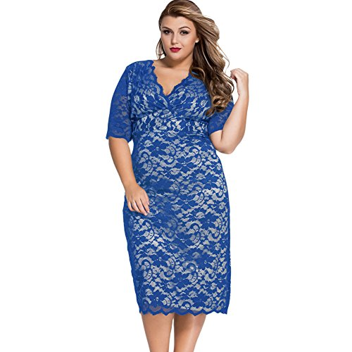 PU&PU Femmes Plus Size Formal / Travail / Parti Floral Lace Hollow Midi Robe, Deep V Coude Elbow blue