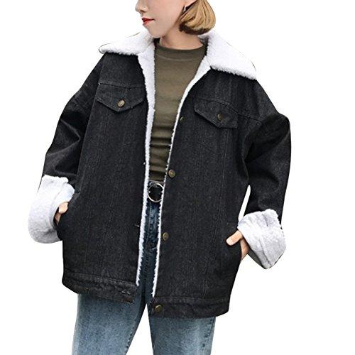 Jeansjacke Damen mit Fell Denim Lamm-Plüsch Jacket Trucker Jacke Mantel Übergangsjacke Outwear Schwarz M (Schwarze Lamm-fell)
