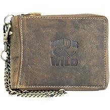 Billetera marrón de cuero naturales con el escorpión con cadena de metal