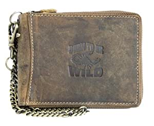 Born to be Wild Men's Scorpion Hunter Style Genuine Leather Wallet With Chain One Size Brown