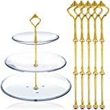 3 Tier Cake Stand (5 SETS) Cake Plate Display Holder Handle Fittings Gold Finish Metal for Tea Shop Room Hotel