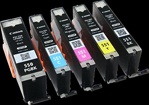 5x Original Tintenpatrone Canon PGI550 / CLI551 für Canon Pixma MG 5650 - BK, PBk, Cy, Ma, Ye - SET-UP Patronen