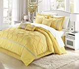 Chic Home Vermont 8-Piece Comforter Set, King, Yellow/Grey