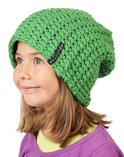 Stylische Oversize Häckelmütze für Mädchen : Mädchen Oversize Häkel Beanie Farbe: Hell-Grün