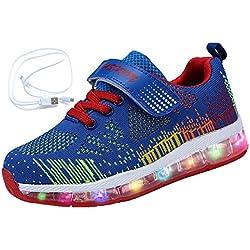 Mr.Ang Zapatos LED Niños Niñas Negras Blanco 7 Color USB Carga LED Zapatillas Luces Luminosos Zapatillas LED Deportivos para Niños Niñas