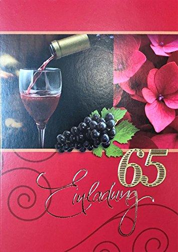 Einladungskarten 65. Geburtstag Frau Mann mit Innentext Motiv Rotwein 10 Klappkarten DIN A6 im Hochformat mit weißen Umschlägen im Set Geburtstagskarten Einladung 65 Geburtstag Mann Frau K146