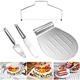TedGem Cake Serving Set, Set of 4,Knife and Server Set,Cake Leveller/Cake Cutting Wire, Icing Spatulas,Cake Shovel Transfer Cake Tray,Cookie Pizza Tray Fondant Moving Paste Tool Bread Pan