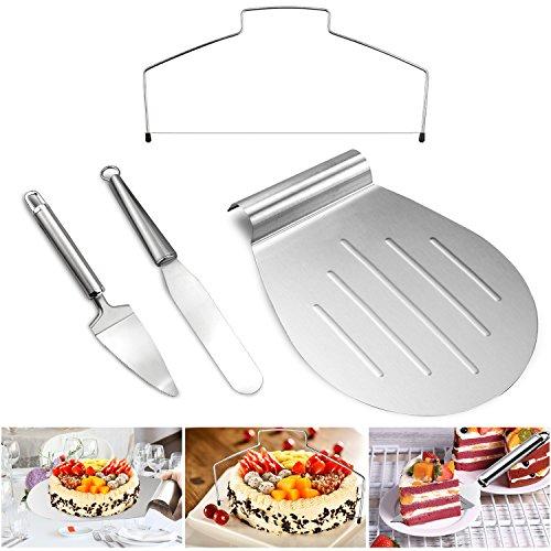 Tedgemset di servizio per la torta, set di 4, paletta solleva torte, pizza cutter, delicia taglia torte con filo, pizza, spatole per pasticceria