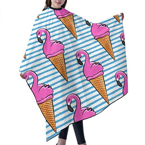 Barber Cape,Flamingo Ice Cones Blue Stripes LAD Salon Polyester Cape Haircut Apron 55