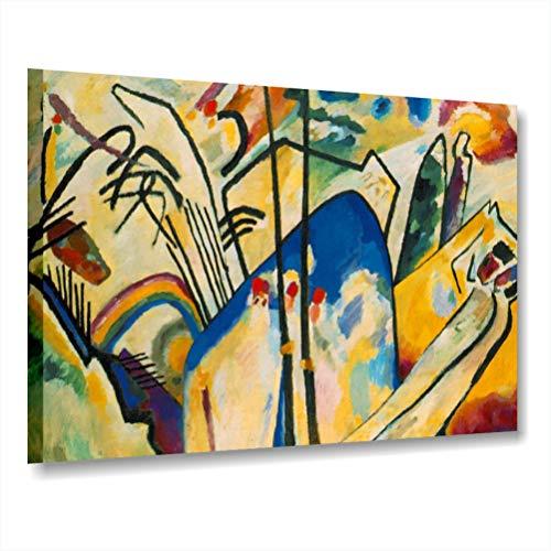 Kandinsky Composition IV - Cadre moderne déjà châssis 70 x 50 cm impression sur toile auteurs Art Maison Bureau Chambre Lit Salon Hotel tableaux modernes imprimés canvas