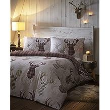 Diseño de reno de ciervo rienda de tartán a cuadros para cama de matrimonio de funda de edredón y árboles de marrón