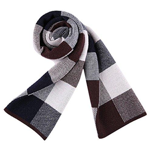 automne et d'hiver foulards hommes européens et américains écharpe classique plaid trois couleurs épaisses écharpes en laine chaude Black