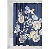 InterDesign Garden Floral Duschvorhang | Designer Duschvorhang mit stabiler Aufhängung| zeitlos schöner Badewannenvorhang 183,0 cm x 183,0 cm | Polyester blau/bunt