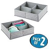 mDesign 2er-Set Stoffbox für Schrank oder Schublade mit je 4 Fächern – die ideale Aufbewahrungsbox (Stoff) – flexibel verwendbare Stoffkiste – grau