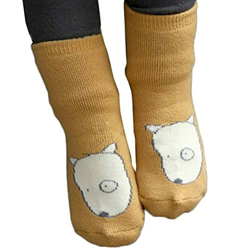 Socken Longra Baby Fox Anti-Rutsch Socken Baumwolle Mischung weichen Boden Kindersocken (0-4 Jahre) (S:0-2 years, Yellow) (Cut Low Sheer)