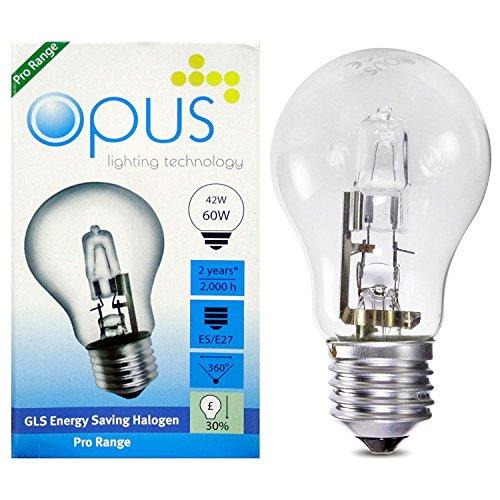 5 x opus lampadina alogena a risparmio energetico 42 w corrispondenti a 60 w attacco grande es e27