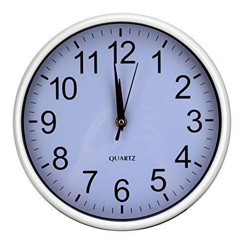 Wanduhr Glaswanduhr Glasuhr Quarzuhr Ø25cm Uhr Wohnzimmeruhr Küchenuhr Neu (Weiß)