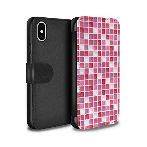 Stuff4 Coque/Etui/Housse Cuir PU Case/Cover pour Apple iPhone X/10 / Rouge/Bleu Design / Carreau Bain Collection Rouge/Rose
