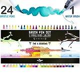 Stationery Island Brush Pens Pinselhaar Spitze - Aquarell Pinselstifte 4 Jahreszeiten Farb-Edition 24er Pack + 1 Wasserp