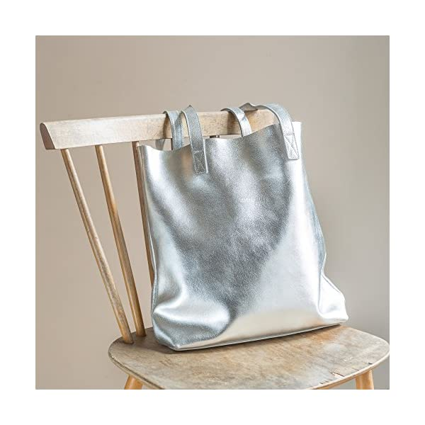 Silver Leather Tote - handmade-bags