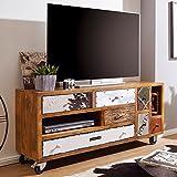 FineBuy Design TV-Board Jolin 130x40x60 cm Massivholz HiFi-Board mit 7 Schubladen | TV Unterschrank Ablage-Fach | Patchwork-Stil Fernsehtisch mit Rollen | Fernsehkommode Lowboard