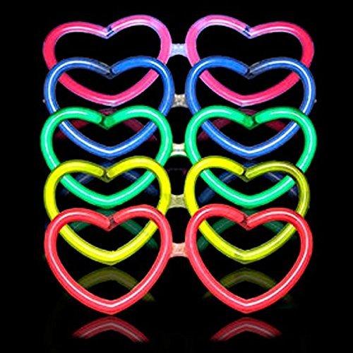 10 Gafas Luminosas Glow Corazón Regalo 30 Pulseras