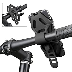 Bike Phone Holder, AEMIAO Adjustable Bicycle Mount Cell Phone Holder, Universal Phone Holder for Any Smartphones Up to 4.7-6.0 Inch Screens iPhone Samsung Sony, Easy to Attach and Detach, Suitable for Road & Mountain Bikes, Motorcycle & Scooters, Black