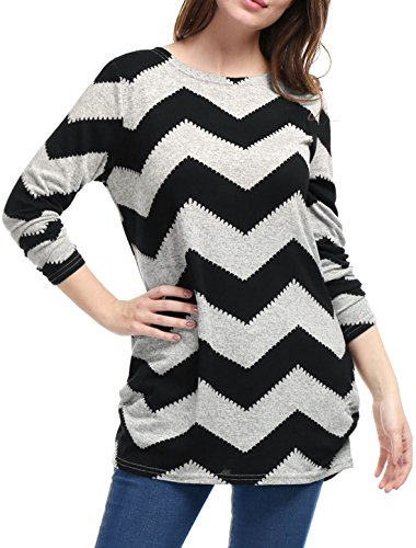 S (US 6) , Black Gray : Allegra K Women's Chevron Pattern Knitted Relax Fit Tunic Shirt