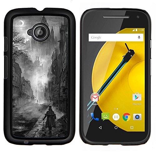 Nero Pittura White Castle Vampire - Aluminum Metal & plastica dura Phone caso - nero - Motorola Moto E2 / E(2nd gen)