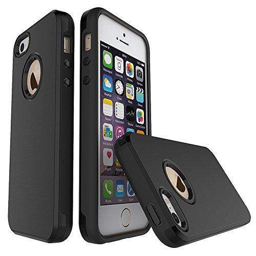 FindaGift iPhone SE 5SE 5 5S Hülle, Dual-Layer Handycover TPU + PC Etui Hybrid Gebürstete Textur Cover Non Slip Stoßfest Case Schutzhülle Anti-Kratzer Protector für iPhone SE 5SE 5 5S Dunkelblau Schwarz