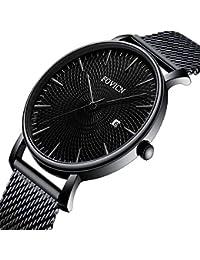SUNWH Reloj para hombre, ultrafino, minimalista, moderno, lujoso, reloj de pulsera para caballero, ropa de trabajo,…