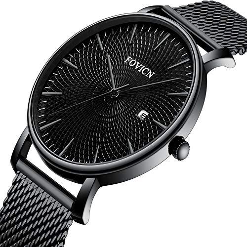 SUNWH Reloj para hombre, ultrafino, minimalista, moderno, lujoso, reloj de pulsera para caballero, ropa de trabajo, impermeable, 30 m, reloj de cuarzo para hombre, con correa negra de acero inoxidable