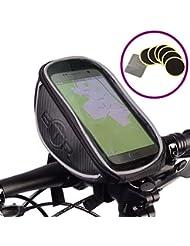 BTR - Grande Alforja Bolsa Funda Móvil con Pantalla PVC Transparente para Manillar de Bicicleta - Impermeable - Negro