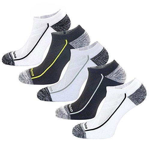 Aaronano 5er Pack Herren Hälfte Cush Terry Quarters Socken Laufsocken Sneaker Socken Running Socks Sportsocken mit Verstärkter Frotteesohle - Größe (5.5-11 UK/43-46 EU)-stoßabfedernd schützend