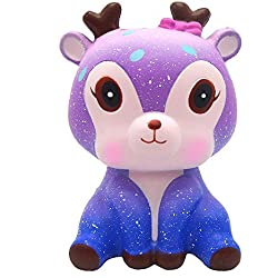 VOOA Squishy Kawaii, Slow Rising Juguete Antiestrés para Niños y Adultos (Galaxy Deer:11.5*7*6cm)