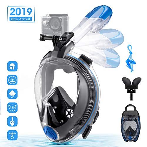 OMORC Masque de Plongée Plein Visage,Masque Snorkeling Visage 180° Visible Anti-buée et Anti-fuites, Support pour Caméra de Sport Amovible, Respiration Libre, Tube Pliable pour Adultes et Enfants