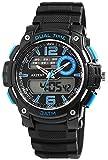 Herrenuhr Analog Digital Armbanduhr Schwarz Blau + Box Quarz Silikon Herrenuhr Chronograph Sport Alarm Licht Stoppuhr Datum AnaDigi