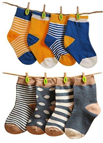 ELE GENS 4/8er Baumwolle Babysocken Erstlingssocken Socken Söckchen Gepunkt Gestreift Set Baby Junge Mädchen Kleinkind Neugeborene (S: 6-12 Monate, A+C)
