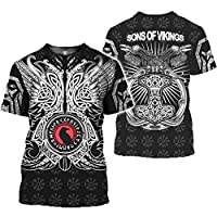"Men's Viking T-Shirt, Odin's Quake And Crow And""Vegvísir"" 3D Print, Nordic Pagan Amulet Short Sleeve,M"