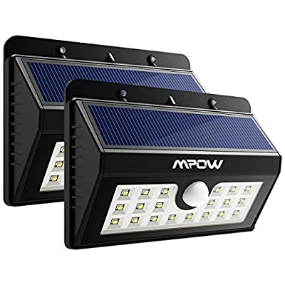 Mpow Solar Lights 20 LED, 3-in-1 Motion Sensor Security Lights with 3 Intelligent Modes Wireless Weatherproof Solar Powered Lights Outside Lights for Pathway, Garden, Pool,Walkway, Driveway - (Pack of 2)